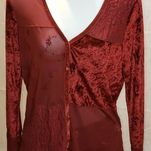 patchwork fabric sheer blouse NWOT